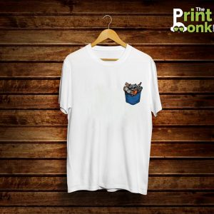Pocket Gun White T-Shirt Pocket Design