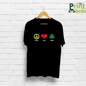 Peace Love Weed Black T-Shirt