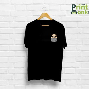 Pug Pocket Design Black T-Shirt
