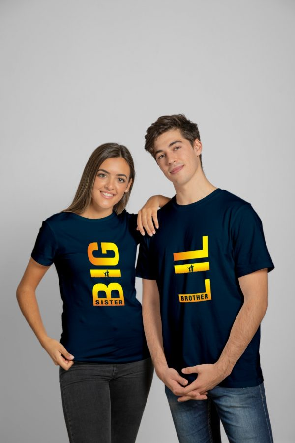 Big Sister & Lil Brother Navy Blue T-Shirt